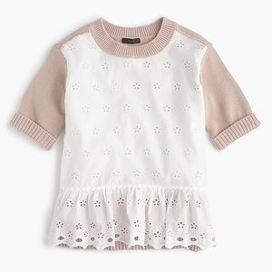 J.CREW Colorblock Eyelet Peplum Sweater!